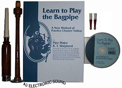 New Aj Learn To Play Bagpipes Manual Book / Cd And Practice Chanter With 2 Reeds