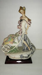 G. Armani {1985} Lady With Flower Cart Florence Italy Fine Porcelain Figurine
