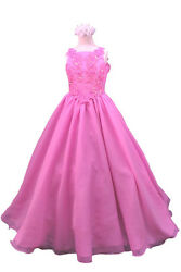 Pink Blue Green New Teens Girl Pageant Flower Wedding Girl Formal Party Dress
