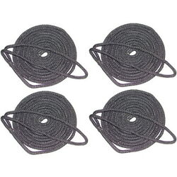 4 Pack Of 3/4 Inch X 25 Ft Black Double Braid Nylon Mooring And Docking Lines
