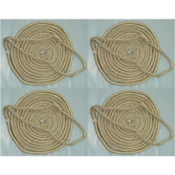 4 Pack Of 3/4 X 35 Ft Gold And White Double Braid Nylon Mooring And Docking Lines