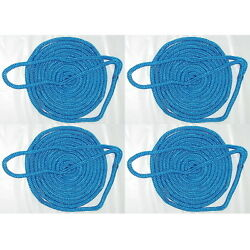 4 Pack Of 3/4 Inch X 35 Ft Blue Double Braid Nylon Mooring And Docking Lines
