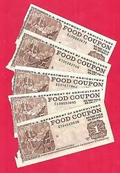 Food Stamp Coupons Usda Five 1.00 1983 B And 1992 B 1994 B Notes