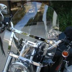 Large Clear Windshield For Yamaha Cruiser Motorcycle 7/8 And 1 Handlebar