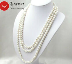 6-7mm Round Natural Freshwater White Pearl Necklace For Women Long Necklace 80and039and039