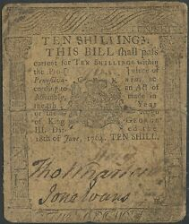 PA-124 10 SHILLINGS NOTE VF RARE 6181764 PRINTED BY FRANKLIN & HALL WL9801RS