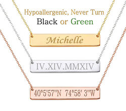 Personalized Name Bar Necklace Custom Engraved Any Name Necklace Stainless Steel $19.98