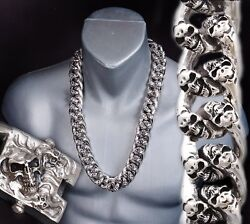 30 1050g Heavy Chunky Biker Curb Chain Skull 925 Sterling Silver Mens Necklace