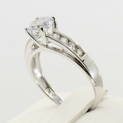 1.5 Ct 14k Real White Gold Round Cut Side Stones 4 Prong Trellis Engagement Ring