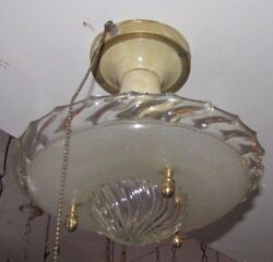 Mid-century Modern Space Age Art Deco Ceiling Mount Light 2 Tone Spiral G 1503