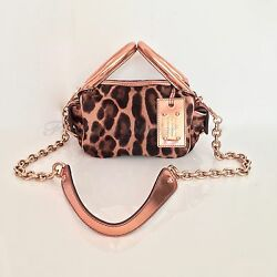 AUTH DOLCE & GABBANA 'Miss Double' Calf Cross-body Satchel Rose Gold Leopard EUC