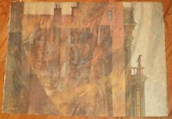 Victorian/gothic House With Woman On Balcony Painting-1970s-william Gorman
