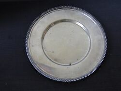 Silver Plated Serving Plate Antique Good Size Round And Gadroon Marked Circa 1900