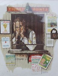 Hand-signed Norman Rockwell Lithograph Ticket Seller Deluxe Sacre/japon Print