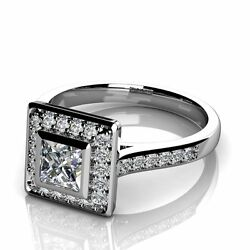 Special Offer. 1.00ct Princess And Round Diamond Engagement Ring18k White Gold