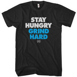 Stacked T-shirt - Stay Hungry Grind Hard Streetwear Skate Entrepreneur Men S-4xl