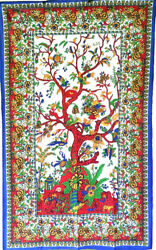 Tree of Life Vibrant Multi Color 54x86 Wall Tapestry or Bed Cover Table Cloth