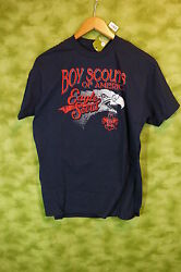Bsa Eagle Boy Scout T- Shirt Youth Large Navy Blue 100 Cotton 01