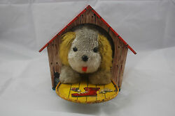 rare tricky dog house tin toy yonezawa of
