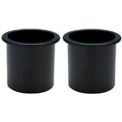 2 Recessed Mount Black Plastic Drink Holders For Boats - Fits 3 Inch Hole