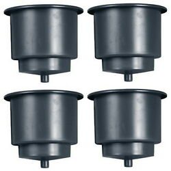 4 Recessed Mount Black Plastic Drink Holders For Boats - Fits 3-3/4 Inch Hole
