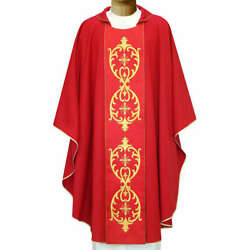 Chasuble In Wool Double Twisted Yarn And Embroidered Galloon