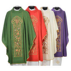 Chasuble In 100 Wool Ihs Ears Of Wheat Embroidery