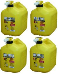 4 Ea No Spill 1457 5 Gallon Carb Compliant Yellow Diesel Fuel Can Container