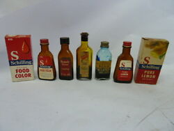 Vintage Schilling,french's Extract Bottles Lot Of 5