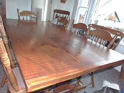 Vintage Handmade Solid Pine Colonial Sturdy Dining Room Table 46 X 86