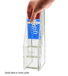 Gift Card Display Business Card Holder 5 Tiered Clear Acrylic Stand Qty 50