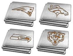 Stainless Steel Coasters - Set Of 4 - Nfl Football - Pick Your Team