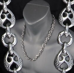 137g 24 Tribal Dragon Artisan Rings Mens Necklace Chain 925 Sterling Silver Pre