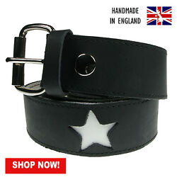 38mm Star Shaped Indent 100 Real Leather Handmade In England 28-44 B041