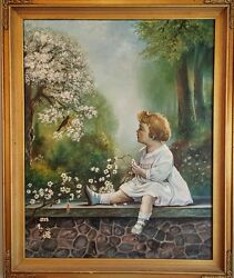 Wonderful Girl On Stone Fence Watching Bird By A.e. Lewis American Painting 1920
