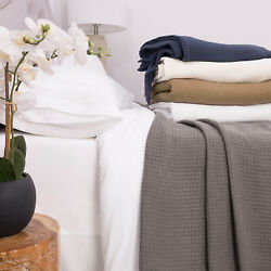 Grand Hotel 100 Cotton Houndstooth Stitch Pattern Woven Blanket Assorted Sizes