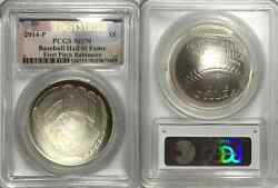 2014 First Pitch Baltimore Fs 1 Baseball Hall Of Fame Pcgs Ms70 Silver Coin