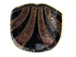 Vintage Walborg Gold Bronze and black Beaded Evening Bag Clutch
