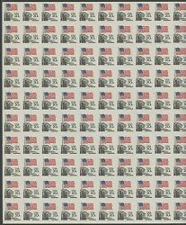 #1895e 20¢ FLAG ISSUE IMPERF HORIZONTALLY MAJOR ERROR (40 PAIRS) CV $32K WLM555