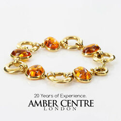 Italian Made Unique German Baltic Amber Bracelet In 18ct Gold -gbr107 Rrpandpound3500