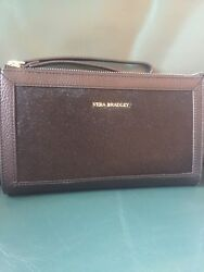 VERA BRADLEY Calf Hair Wristlet BLACK Leather New With Tags!