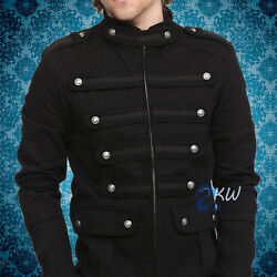 Menand039s Black Gothic Steampunk Vintage Guard Military Jacket Pea Coat