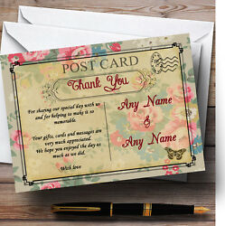 Floral Vintage Paris Shabby Chic Postcard Personalised Wedding Thank You Cards