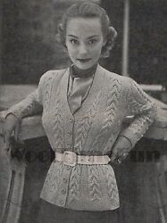 Vintage Knitting Pattern Ladyand039s 1940s/50s Cable Design Cardigan/jacket.