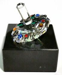 Colorful Crystal Dreidel Handcrafted With Crystal On Marble Base