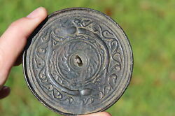 Antique Middle Eastern Bactrian Bronze Mirror With 2 Snakes 200 Bc-100 Ad