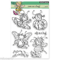 New Penny Black Cute As A Bug Clear Stamp Children Butterfly Kids Flower B-day