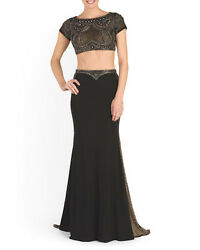 Terani Couture 2 Pc Crop Top Short Sleeve Beaded Maxi Gown Sz 6 Nwt Black Nude