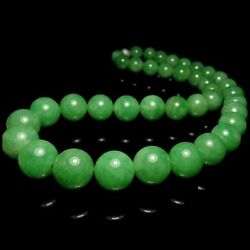 【KOOJADE】Icy Emerald apple Green Jadeite Beads Necklace《39》《Grade A》