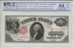 FR 39* $1 1917 Legal Tender Star Replacement Note Speelman, White PCGS 64 *STAR*